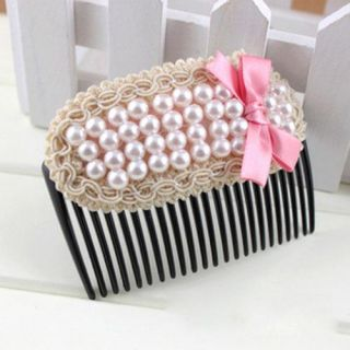 Sweet Rhinestone Pearl Bowknot Bow Hairpin Hair Clip Tuck Comb