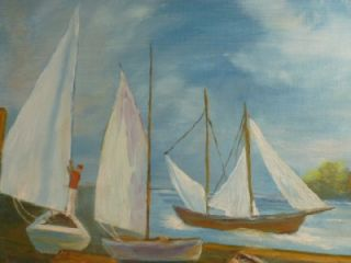 Helen Reed Sail Boats Dock Side 20 x 16 Oil Painting Wood Frame