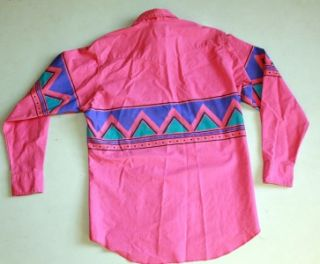 Vtg RARE Wrangler Hot Pink Shirt Western Cowboy Thick Cotton Xltail