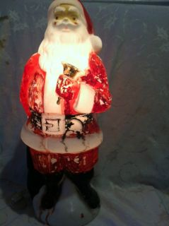 Vintage Christmas Blow Mold 1969 SANTA CLAUSE LIGHT BELL Holiday