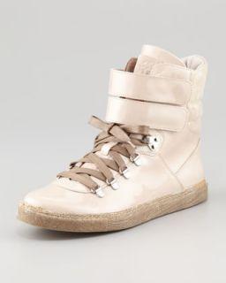 X1LBT Brunello Cucinelli Patent Leather Hi Top Sneaker, Sand