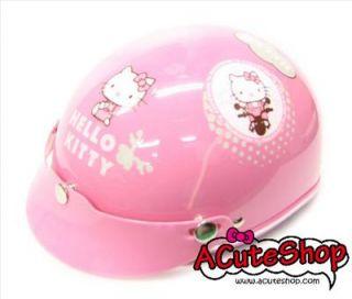Hello Kitty on Bike Motor Half Helmet Harley Style Pink