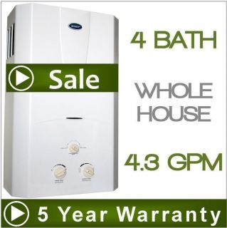 Tankless Hot Water Heater Natural Gas 4 3 GPM 4 Bath Whole House Marey