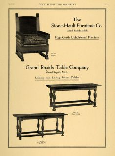 1921 Ad Stone Hoult Furniture Co Grand Rapids Table Co   ORIGINAL