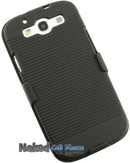 Black Rubberized Hard Case Belt Clip Holster for Samsung Galaxy s 3