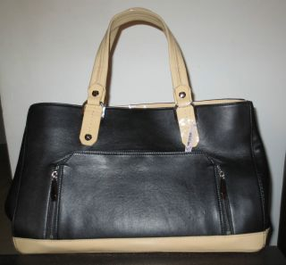 Henri Bendel Color Black Camel Leather Satchel Shoulder Bag