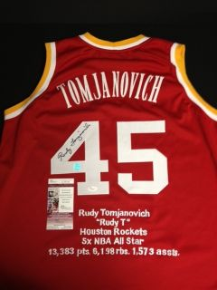 Rudy Tomjanovich Houston Rockets Autographed Throwback Jersey JSA