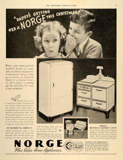 1936 Ad Norge Home Appliances Concentrator Range Fridge   ORIGINAL