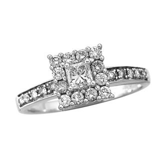 Engagement Ring 5 8 Ct TW Princess Cut 14k White Gold Size 7