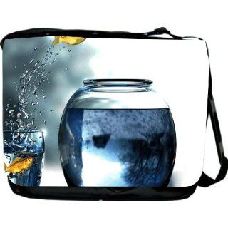 Acrobatic Goldfish Design Messenger Bag   Book Bag