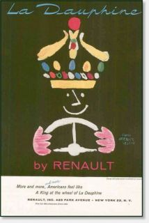 1957 Renault Dauphine Herbert Leupin Art Vintage Ad