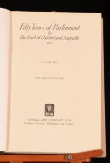 1926 2vol Fifty Years of Parliament The Earl of Oxford and Asquith