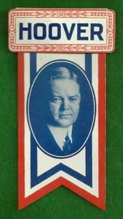 Herbert Hoover Political Campaign Pinback Button Ribbon Badge