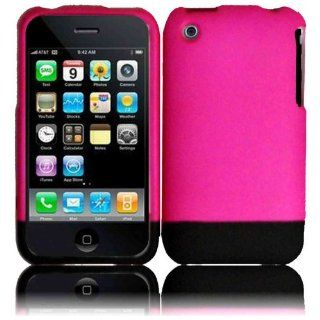 Hot Pink/Black Slider Case Cover for Apple Iphone 3G 3GS