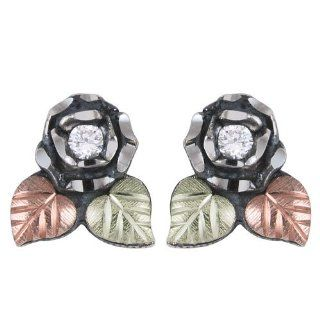 Black Hills Gold Oxidised Sterling Silver Earrings with Rose Jewelry