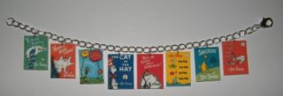 Dr Suess Cat in the Hat Book Cover Charm Bracelet, The Grinch, Horton