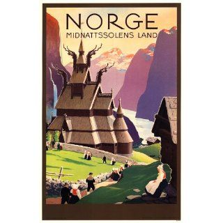 Norway Travel Poster   Land of The Midnight Sun   Norge