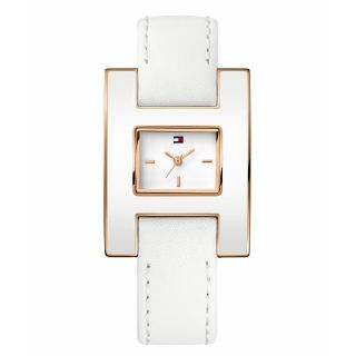 New Tommy Hilfiger Square White Calf Leather Ladies Watch 1781153