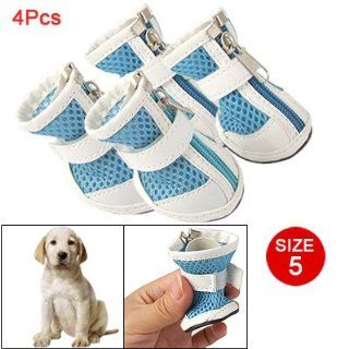 Como Puppy Dog Zippered Meshy Boots Blue White Shoes Size