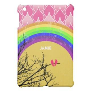 Personalized retro Rainbow Love Bird iPad Mini iPad Mini Cases