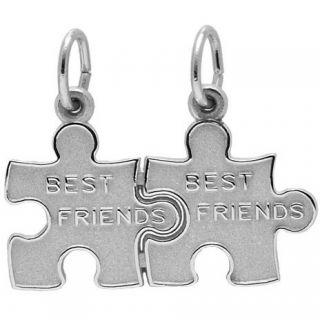 Rembrandt Charms Best Friend/Puzzle Piece Charm, Rhodium