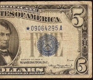 1934 A 5 DOLLAR BILL BIG BLUE STAR SILVER CERTIFICATE NOTE Fr 1651