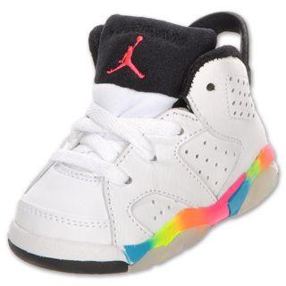 Air Jordan Retro 6 Toddler Shoe White/Pink Flash