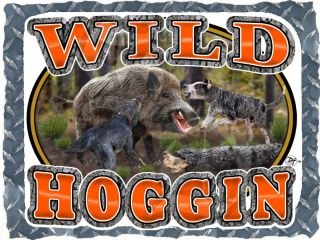 Wild Hog Hunting Hoggin with Dogs Wildlife Printed T Shirt Small 4XL