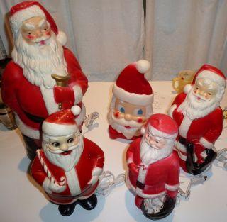 VINTAGE SANTA CLAUS CHRISTMAS PLASTIC BLOW MOLD LIGHT DECORATION