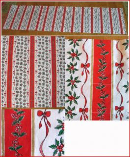 Swedish Xmas Print Valance Red White Gold Green Holly Ribbons Bows New