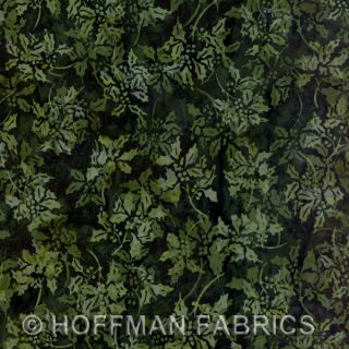 Hoffman Bali Batik Christmas Hunter Holly fabric quilt BTY christmas