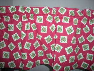 New Christmas Holly Pine Cones Holiday Valance Curtain