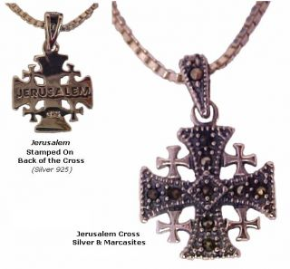 Christian Cross Jewelry Jerusale Solid Sterling Silver with Marcasites