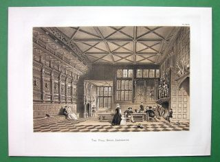 England Speke Mansion View of Gateway Antique Litho Print