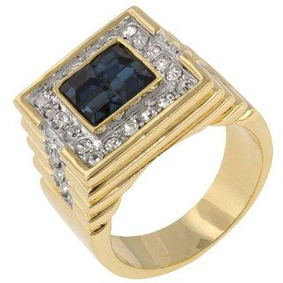Mens Sapphire CZ Gold Plated 14k Yellow Gold Ring Size 11 Jewelry
