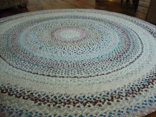 Antique AAFA Braided Round Rug Old Cotton Shirting CLEAN NICE