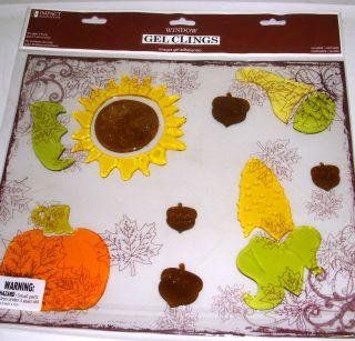 Sunflower Pumpkin Fall Gel Window Clings Home Décor NIP