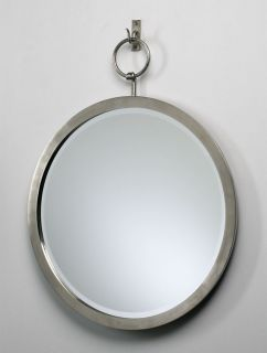 Hanging Wall Mirror Iron Frame Polished Chrome Finish Home Decor New