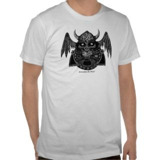 Cool viking skull with runes graphic art t shirt