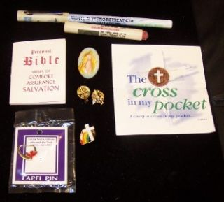 christian symbols 5 pins pen 2 tracts cross angel holy spirit prayers