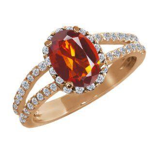 58 Ct Oval Orange Red Madeira Citrine White Diamond 18K Rose Gold