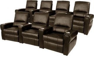 Pallas Home Theater Seating 7 Leather Seats Power Recliner Brown