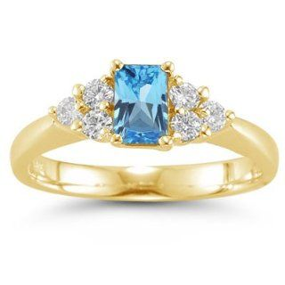 60 Cts Diamond & 3.24 Cts Swiss Blue Topaz Ring in 14K Yellow Gold 9