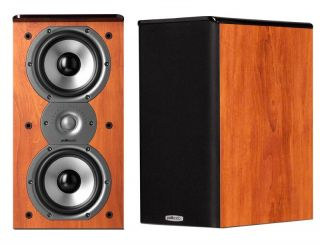 POLK AUDIO TSI 200 BOOKSHELF HOME THEATER SPEAKERS PAIR CHERRY