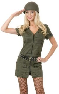 Sexy Adult Halloween Costume Army Girl Soldier Dress