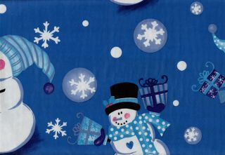 Snowman Vinyl Tablecloth Blue White Christmas Gifts Rectangle Flannel