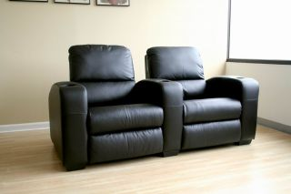 Leather Home Theater Seating 2 Black Kimera Seats Reclining Chairs