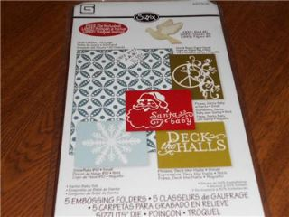 SIZZIX 5PC EMBOSSING FOLDERS HOLIDAY SANTA BABY SET WITH DIE~NEW CUTE