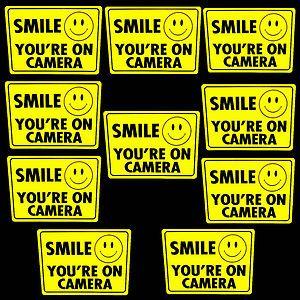 10 SMILE SECURITY SURVEILLANCE CCD SPY CAMERAS WARNING STICKERS WINDOW