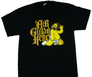 Homer Simpson Air Guitar Hero Black T Shirt